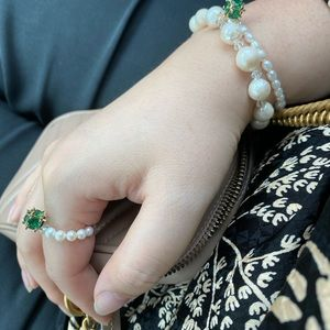 Natural baroque real pearl bracelet/matching ring